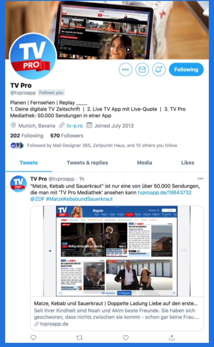 TV Pro bei Twitter