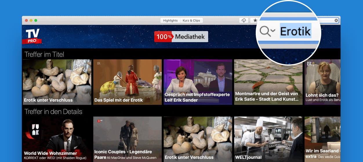 Die Suche in der TV Pro Mediathek App