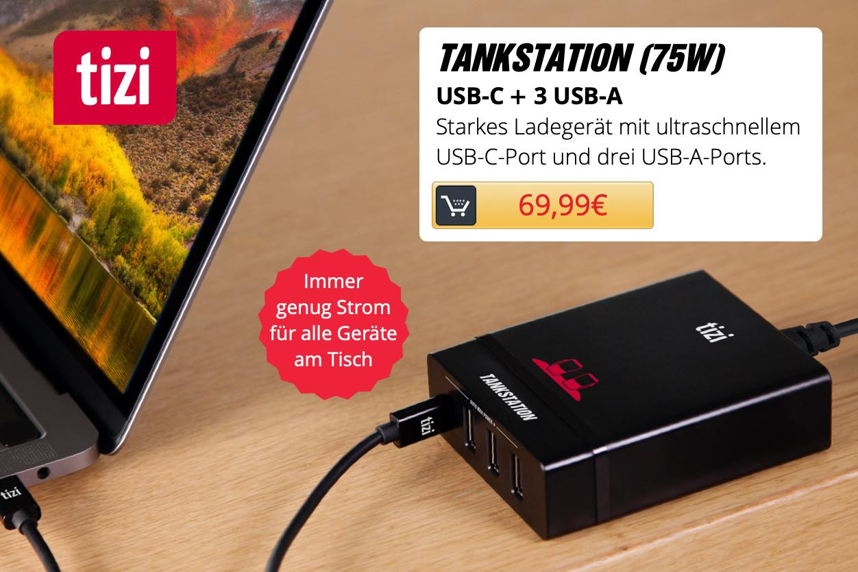 tizi Tankstation USB-C + 3 USB-A (75W)