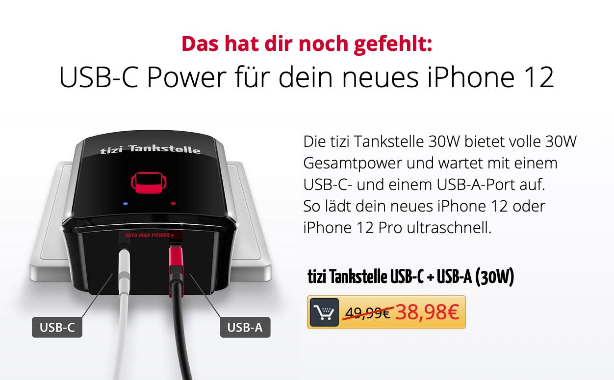 tizi Tankstelle USB-C + USB-A (30W)
